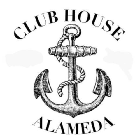 Susan Mirch creates the Club House Sports Bar Alameda holiday window